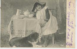 ENFANTS - LITTLE GIRL - MAEDCHEN - DOG - Jolie Carte Fantaisie Fillette Avec  Chien à Ses Pieds - Cani