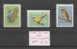Oiseau Hibou Loriot Pic - Corée Du Nord N°295 à 297 1961 ** - Non Classés