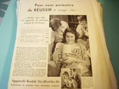 ANCIENNE PUBLICITE APPAREILS KODAL SIX-20 1934 - Advertising