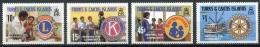 Turks And Caicos Islands, 1980, Aid, Lions Club, Kiwanis, Soroptimist, Rotary, MNH, Michel 498-501 - Turks And Caicos