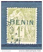 Benin 1892 N. 5 C. 13 Fr. 1 Verde Oliva Usato Cat € 450 Firma A. Diena E Timbri Garanzia