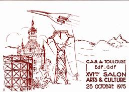 CPSM (31) TOULOUSE 16 ème Salon Arts Et Culture 1975 C.A.S. De EDF-GDF Avion CONCORDE (2 Scans) - Collector Fairs & Bourses