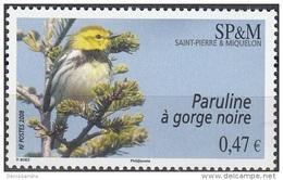 Saint-Pierre & Miquelon 2008 Yvert 916 Neuf ** Cote (2015) 2.00 Euro Paruline à Gorge Noire - Neufs