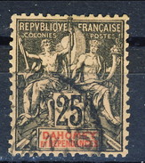 Dahomey 1899 N. 1 C. 25 Nero Su Rosa Usato Cat. € 14