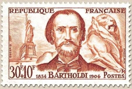 Célébrités. Frédéric-Auguste Bartholdi Et Ses œuvres : La Statue De La Liberté, à New York Et Le Lion De Belfort  30f. + - Unused Stamps