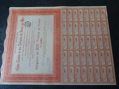 Eden Casino Et Des Terrains De Berck Sur Mer Obligation De 500 F Au Porteur 1901 Tournant - Casino