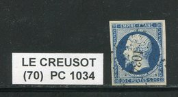 FRANCE- Y&T N°14A- PC 1034 (LE CREUSOT 70) - Marcophily (detached Stamps)