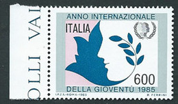 Italia, Italy, Italie 1985; Anno Internazionale Della Gioventù, Year Of The Youth. Francobollo Di Bordo Destro. Nuovo. - Infanzia & Giovinezza
