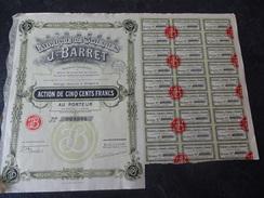 Fabriques De Soieries J Barret Tissages Du Val D'Ainan Action De 500 F 1929 Bazin - Textile
