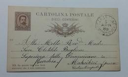 1888 INTERO POSTALE X ESTERO TURCHIA DA CARASSONE MONDOVÌ A MAKRIKIOI (137) - 1878-00 Umberto I
