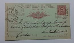 1893 INTERO POSTALE X ESTERO TURCHIA DA BENE VAGIENNA CUNEO A MAKRIKIOI (139) - 1878-00 Umberto I