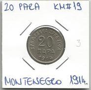 Gh5 Montenegro 20 Para 1914. KM#19 - Joegoslavië