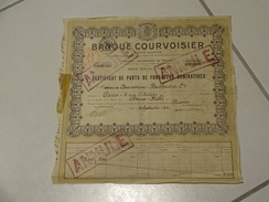 Exceptionnel Certificat De Parts De Fondateur Parts 1 à 2000 ANNULE Pour 2000 Parts Banque Courvoisier 1925 Paris - Bank & Insurance