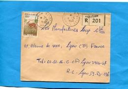 MARCOPHILIE-haute Volta -Lettre   REC->Françe-cad TOUGAN1963-  - Stamps N° 1012 Cob De Buffon-animal - Upper Volta (1958-1984)
