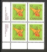 003627 Canada 1978 Flowers 12c Plate 1 Block LL MNH - Plate Number & Inscriptions