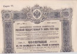 ACTIONS & TITRES - GOUVERNEMENT IMPERIAL DE RUSSIE. EMPRUNT DE L'ETAT RUSSE 5% 1906. - Russie