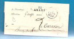 Bouches Du Rhone - Arles Pour Tarascon. 1829 - Marcophilie (Lettres)