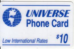 USA - Universe Prepaid Card $10, Used - Etats-Unis
