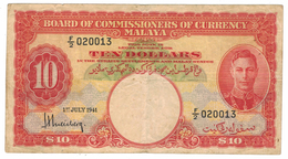 Malaya, 10 Dollars, 1941, VF. Free Ship. To USA. - Malaysia