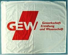 Flagge / Fahne  GEW  Gewerkschaft Erziegung Wissenschaft  -  Material : Polyester  -  Größe Ca. 84 X 71 Cm - Reklame