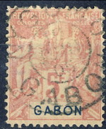 Gabon 1904-07 N. 32 Fr. 5 Violetto Su Grigio Usato Cat. € 150 - Used Stamps
