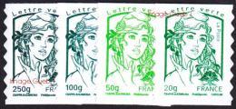 France Marianne De Ciappa Et Kawena Autoadhésif N°  858 à 861 ** Les 4 Timbres Lettres Vertes - 2013-... Marianne De Ciappa-Kawena