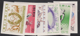 OLYMPICIS- LIBERIA - 1956 - MELBOURNE OLYMPICS SET OF 6 IMPERFORATE MINT NEVER HINGED, SELDOM AS THUS