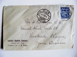 Cover Sent From Latvia 1924 Coat Of Arms Riga To Czecho-slovakia - Lettonie