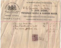 VP9994 - Facture - LODON - Manufacturer Of John BROWN , WHOLESALE SADDLE & HARNESS MAKER - Royaume-Uni