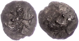 Unbestimmte Münzstätte, Obol (), nach 380 v. Chr. Av: Kniender Großkönig mit Speer und Bogen...