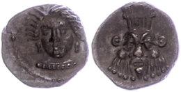 Unbestimmte Münzstätte, Obol (0,74g), ca. 4. Jhd. v. Chr. Av: Weiblicher Kopf von vorn. Rev: Kopf des Bes...