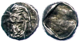 Ca. 6. Jhd. v. Chr., 1/24 Stater, Lydien, Sardeis. Av: Löwenprotome und Stierprotome. Rev: -. 0,39g, ss. ...