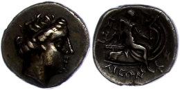 196-146 v. Chr., Tetrobol, Histiaia. Av. Kopf der Nymphe Histiaia nach rechts. Rev: Histiaia auf Schiffsheck nach...