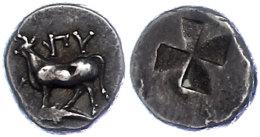 416-357 v. Chr., 1/2 Siglos, Byzantium. Av: Kuh auf Delphin, davor Monogramm. Rev. Quadrum inclusum. 2,65g. ss. ...