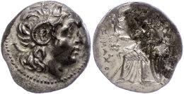 Ephesos, Drachme (4,23g), 323-281 v. Chr., Lysimachos. Av: Kopf nach rechts. Rev: Thronende Athena mit Schild,...