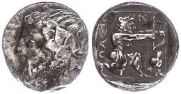 Thasus, Drachme (3,62g), ca. 350 v. Chr. Av: Dionysoskopf nach links. Rev: Kniender Herakles mit Löwenfell und...