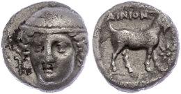 Ainos, Tetrobol (2,26g), ca. 412-365 v. Chr. Av: Hermeskopf schräg links von vorn. Rev: Ziege nach rechts,...