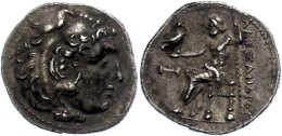 Makedonien, Myalasa?, Drachme (4,00g), 300-280 v. Chr., Alexander III. Av: Herakleskopf mit Löwenfell nach...