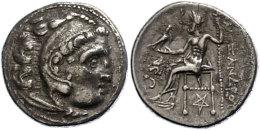 Makedonien, Kolophon, Drachme (4,19g), 301-297 v. Chr., Alexander III. Av: Herakleskopf mit Löwenfell nach...