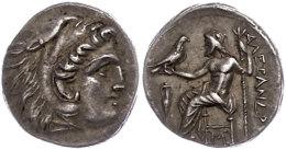Makedonien, Lampsacus, Drachme (4,15g), 310-301 v. Chr., Alexander III. Av: Herakleskopf mit Löwenfell nach...