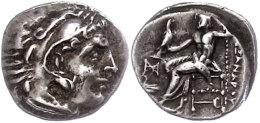 Makedonien, Abydus?, Drachme (4,14g), 310-301 v. Chr., Alexander III. Av: Herakleskopf mit Löwenfell nach...