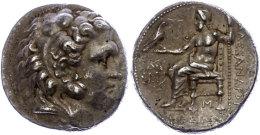 Makedonien, Babylon, Tetradrachme (16,94g), postum, 317-311 v. Chr., Alexander III. Av: Herakleskopf mit...
