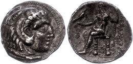 Makedonien, Sidon,Tetradrachme (15,90g), 313-312 v. Chr., Alexander III. Av: Herakleskopf mit Löwenfell nach...