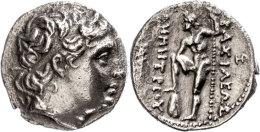 Pella, Tetradrachme (16,15g), 289-288 v. Chr., Demetrius Poliorketes. Av:  Kopf nach rechts mit Diadem. Rev:...
