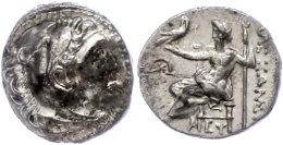 Mylasa, Drachme (4,14g), 336-323 v. Chr., Alexander III. Av: Herakleskopf mit Löwenfell nach rechts. Rev:...