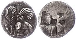 Argilos, Diobol (1,36g), ca. 495-477 v. Chr. Av: Pegasosprotome nach rechts. Rev: Vierfach geteiltes Incusum. ss. ...