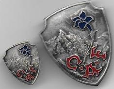 Insignes  Du CLUB ALPIN FRANCAIS ( 36mm X 30 Mm ) Et ( 19 Mm X 15 Mm ) - Insignes & Rubans