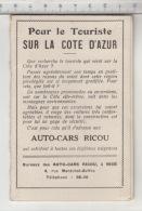 Pour Le Touriste Sur La Côte D'Azur - Auto-cars Ricou - Dépliants Touristiques