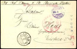 Nagoya, Karte Mit Großem Rotem Siegel Vom 25.9.15 über Yokohama Nach Eisfeld  BFNagoya, Card With...