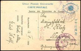 Kurume: 1919, Vordruck-Ansichtskarte Mit Lagerstempel Und Poststempel Vom 16.4. In Das Gefangenenlager Nagoya Mit...